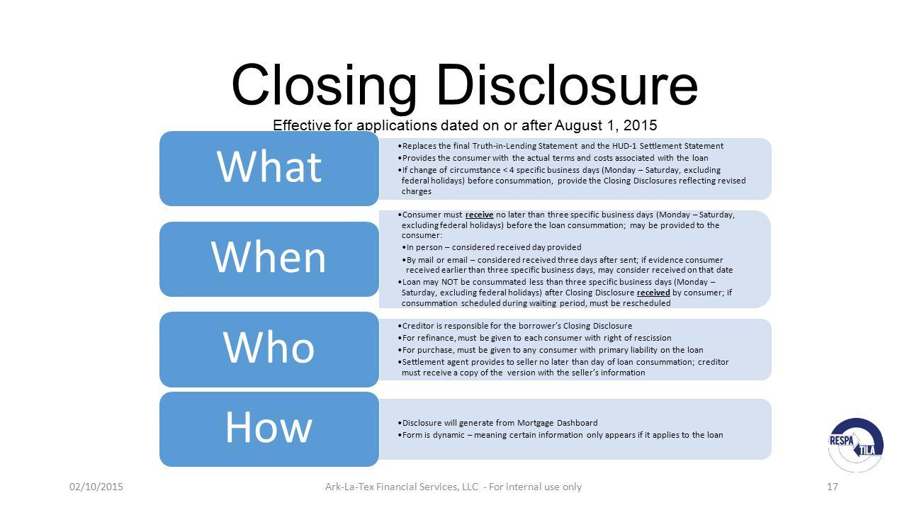 TILA – RESPA Integrated Disclosures (TRID) - ppt video online download