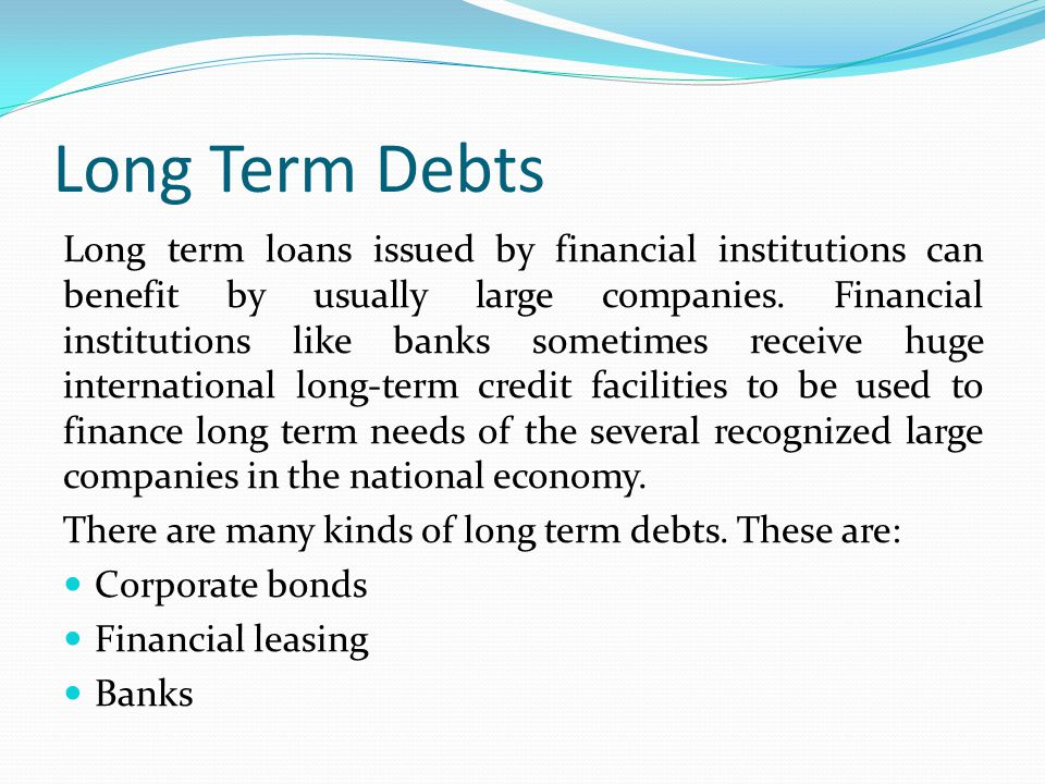 long term debt and lease financing essay Within these financial institutions are lenders that specialize in certain types of long-term debt, including mortgage lenders, term loan lenders and equipment leasing lenders.