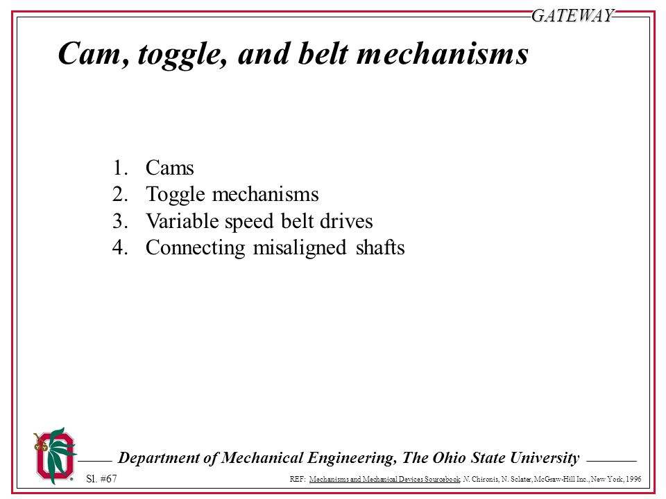 Cam, toggle, and belt mechanisms