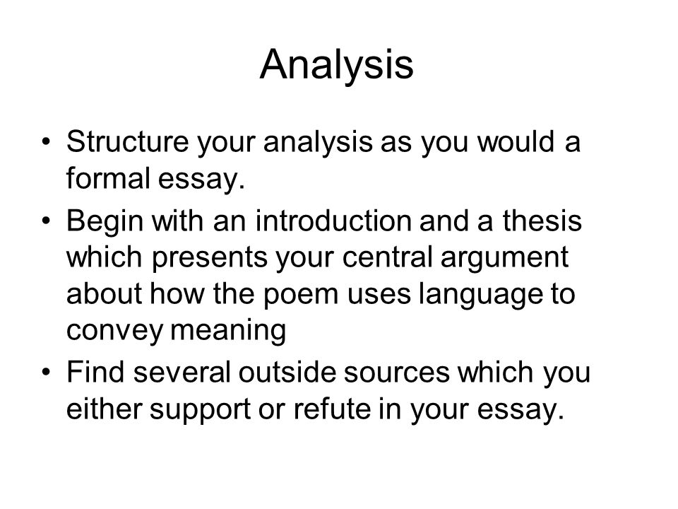 structure of a poem analysis essay How to write a poetry analysis essay in order to compose a poetry analysis essay, one must first read the poem carefully this reading allows one to become familiar.