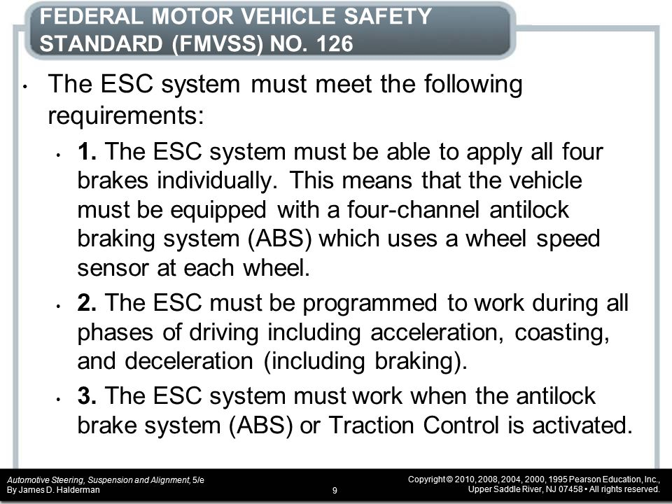 Chapter 10 electronic stability control systems ppt for Federal motor vehicle safety standards