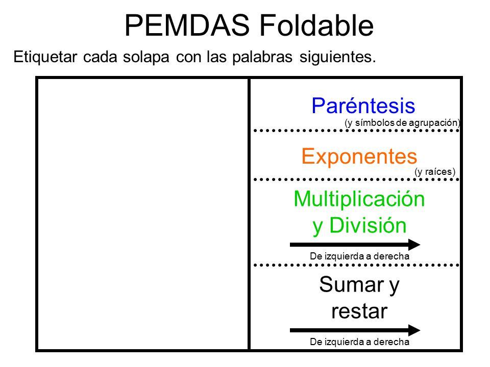 PEMDAS Foldable Paréntesis Exponentes Multiplicación y División