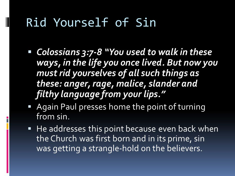 Rid Yourself of Sin