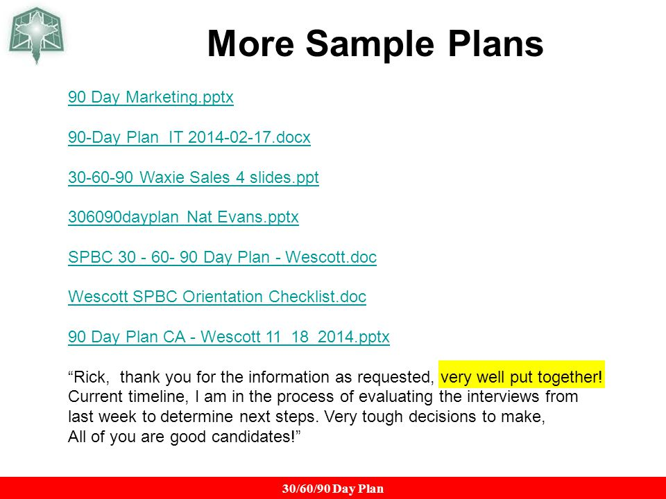 The 90 Day Plan A Key To Getting an Offer ppt download – Sample 30 60 90 Day Plan