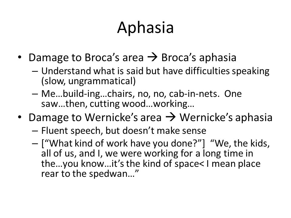 Aphasia Damage to Broca's area  Broca's aphasia