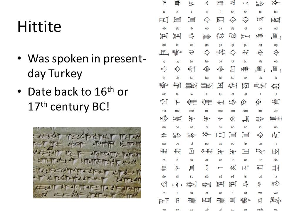 Hittite Was spoken in present-day Turkey