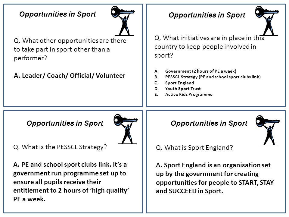 Opportunities in Sport Opportunities in Sport