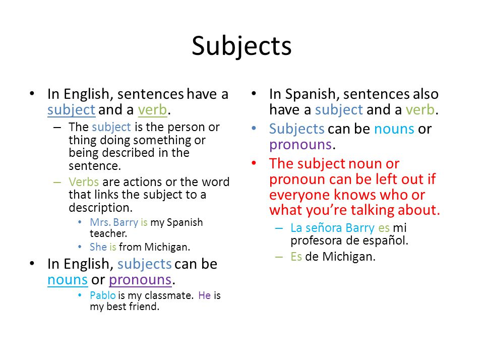 Subjects In English, sentences have a subject and a verb.