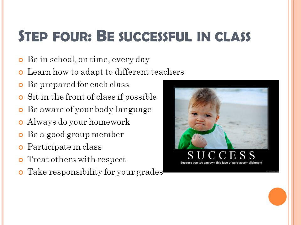 Step four: Be successful in class