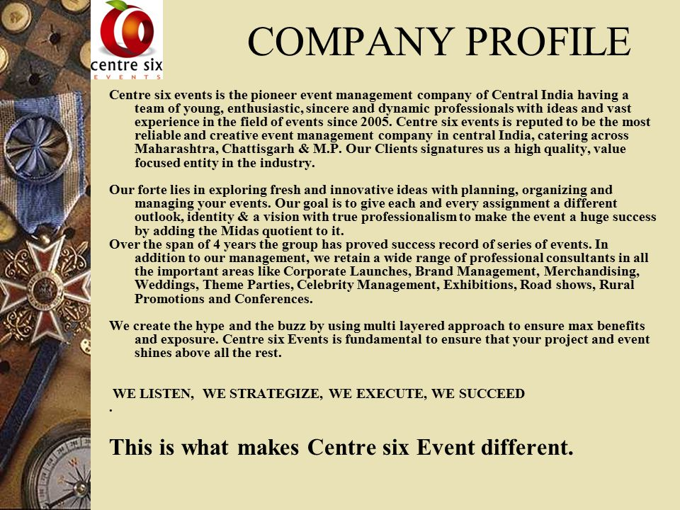 company profile this is what makes centre six event