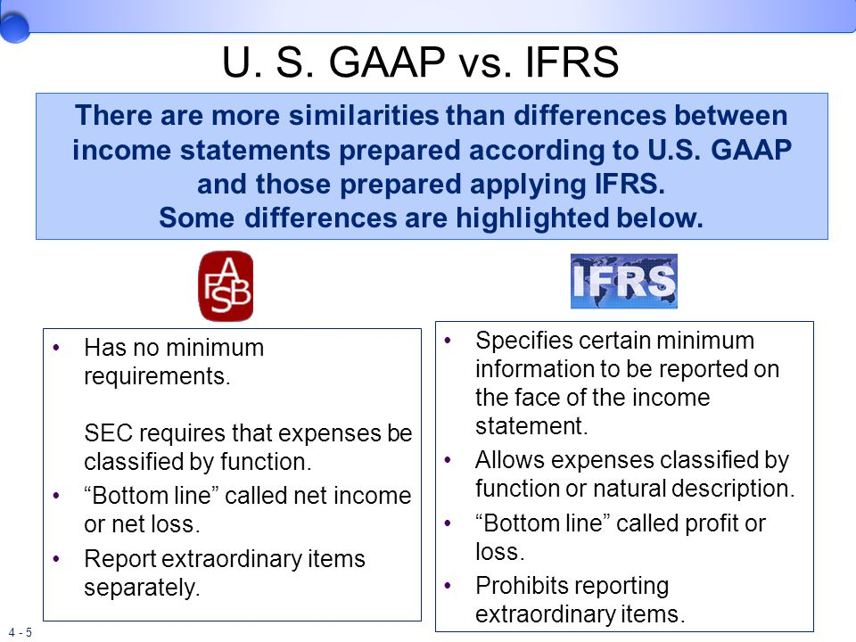 differences between gaap ifrs in The difference between gaap and ifrs is subtle one important distinguishing  point between the two is that they are developed and issued by.