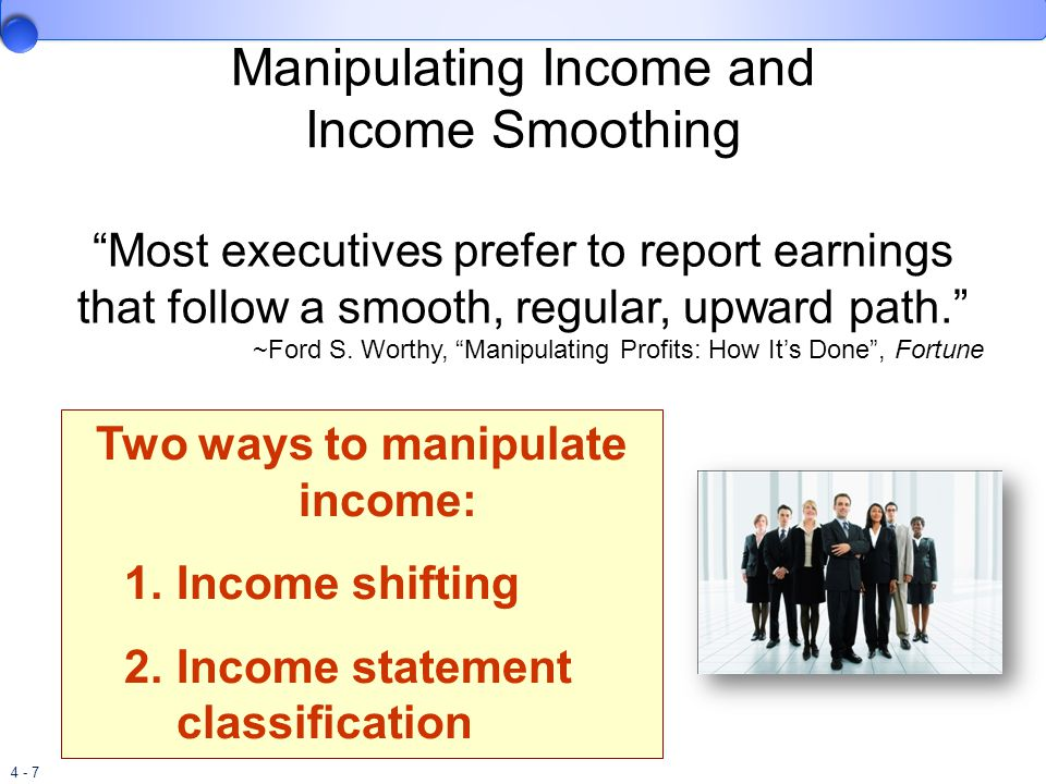 income smoothing methods Income smoothing is a broad term used to describe accounting techniques that  aid in managing fluctuations in net income from one period to the following.