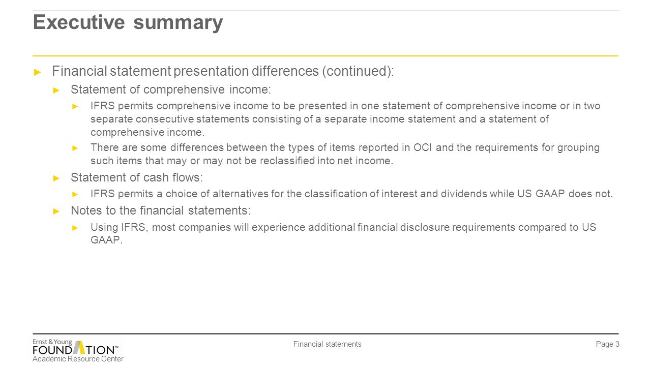 executive summary of financial statement Executive summaries complete the report,  the executive summary will appear after the transmittal memo and just before the first page of the analytical report memo.