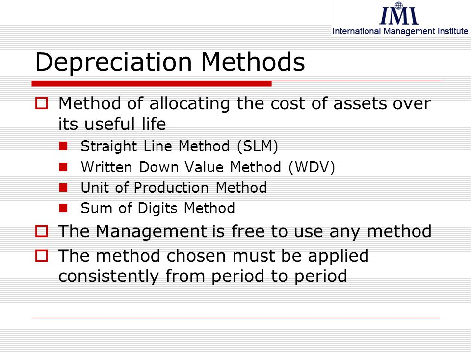 the two methods of depreciating an asset