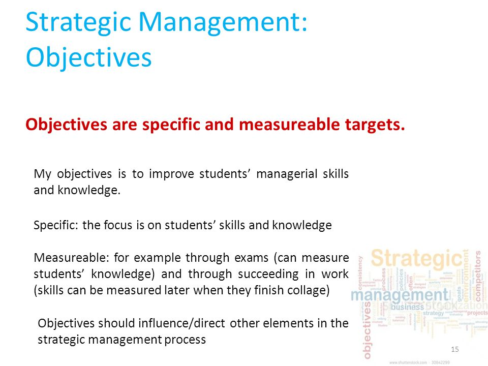 objectives of strategic management Nature and scope of strategic management strategic management is well-organized approach that is based on effective principles and process of management to recognize the corporate objective or mission of business.