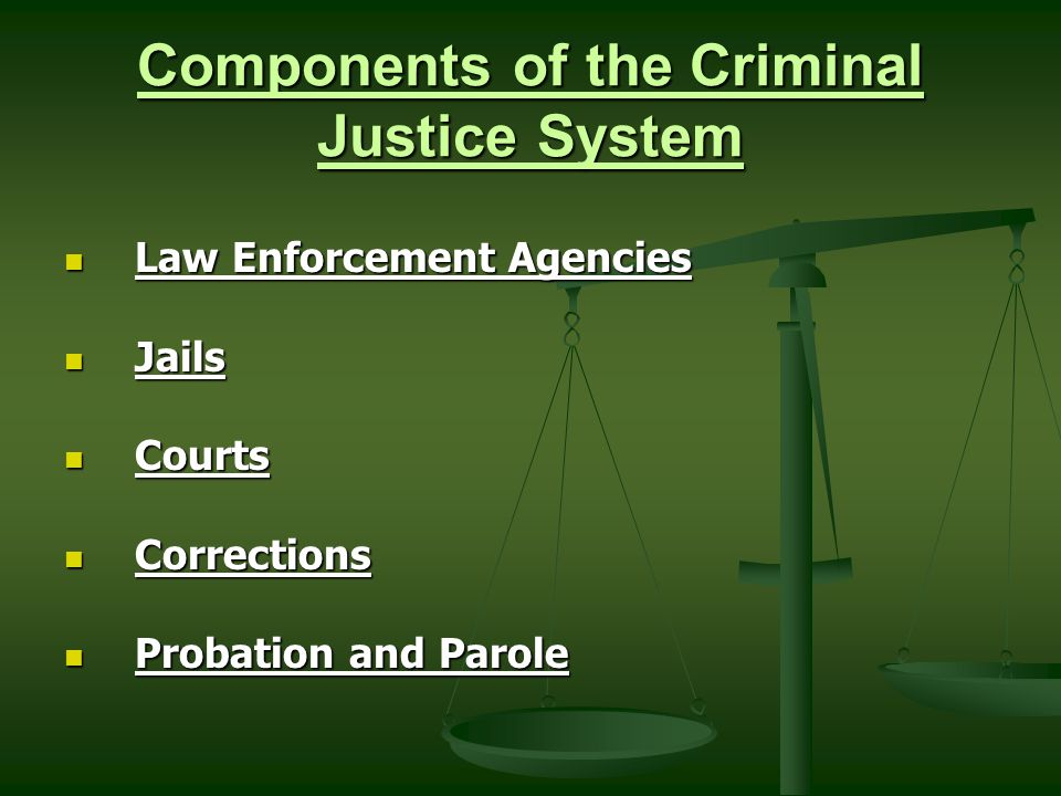components of the criminal justice system The core components of the criminal justice system consensus model assumes cooperation among all components of the system toward a common goal.