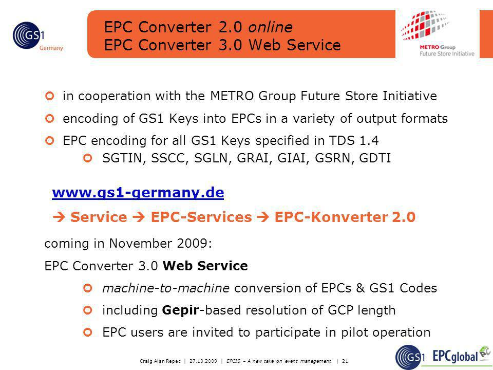 EPC Converter 2.0 online EPC Converter 3.0 Web Service