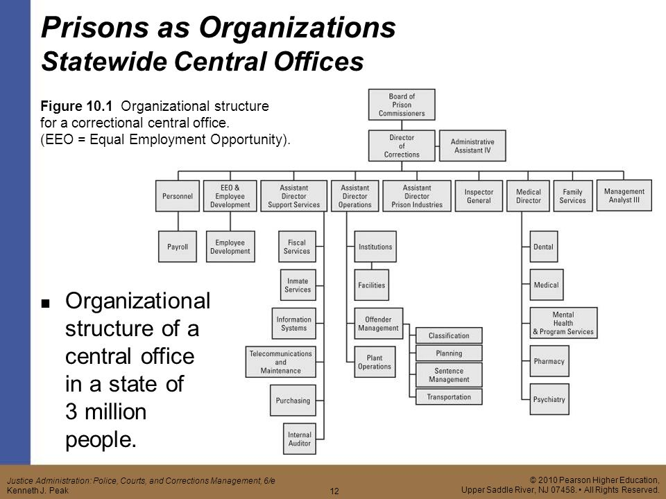 correctional organization and administration functions Organizational structure the national institute of corrections (nic) is administered by a director appointed by the us attorney general a 16-member advisory board provides policy direction to the institute.
