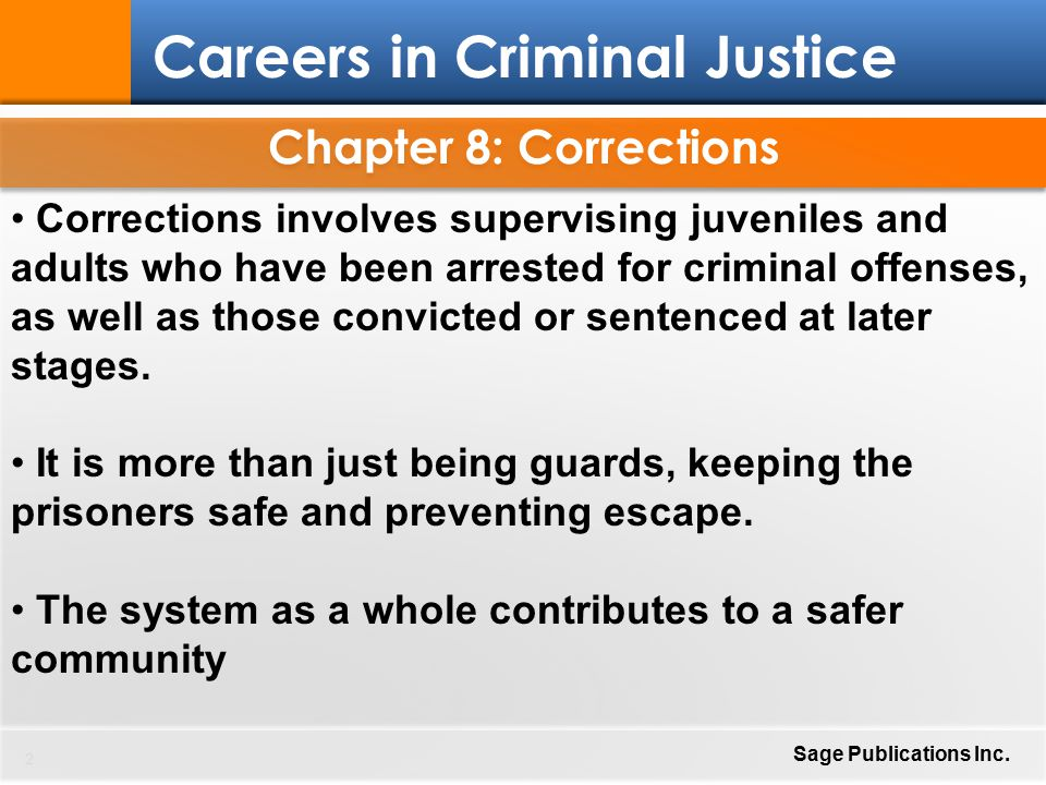 corrections and the criminal justice system Publications speakers binder section 3 federal corrections and the criminal justice system pdf (90 kb) canada's federal corrections and criminal justice system chart  1 the criminal justice system canada's criminal justice system is designed to ensure public safety by protecting society from those who violate the law.