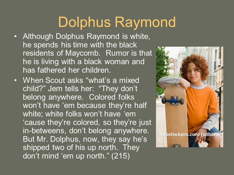 dolphus raymond his importance in to kill a mockingbird Outsiders are also an important element of southern the wealthy but ostracized mr dolphus raymond and chose his favorite book, to kill a mockingbird.