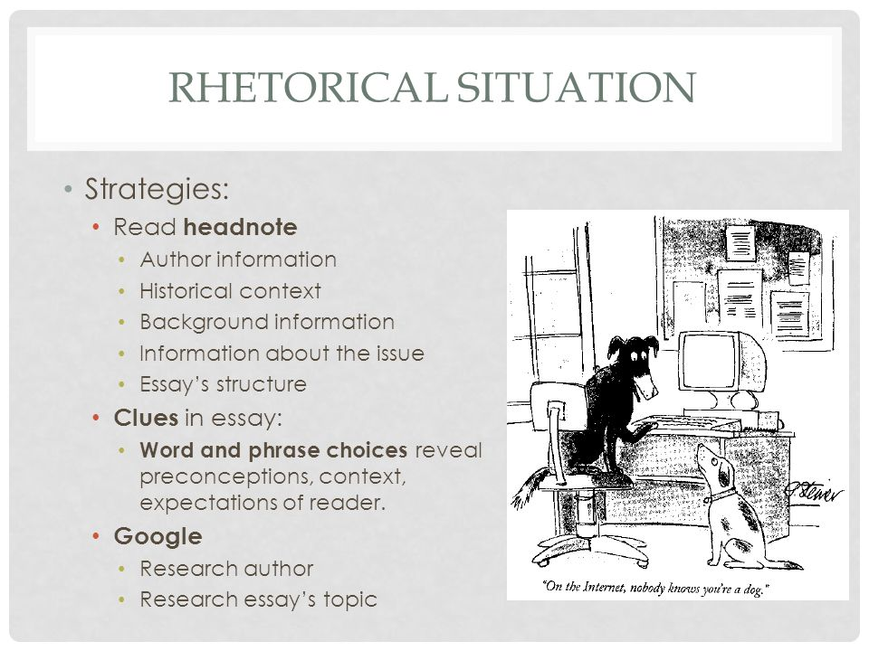 essay rhetorical situation The purdue university online writing lab serves writers from around the world and the purdue university writing lab helps writers on purdue's campus.