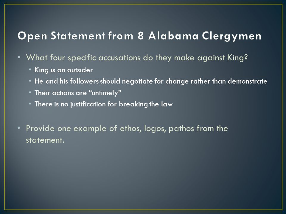 letter from birmingham jail ppt  open statement from 8 alabama clergymen