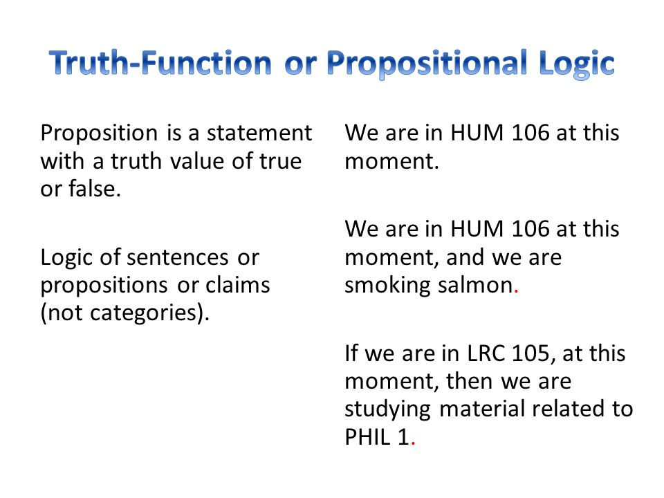 proposition in logic An explanation of the basic elements of elementary logic the quality of a categorical proposition indicates when two categorical propositions are of.