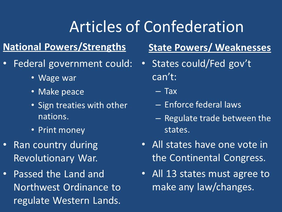 articles of confederation failure essay Independence and the articles of confederation 2b but the failure of the initial experiment helped the founders to find a more perfect balance.