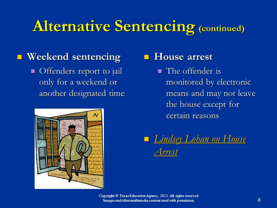alternative sentencing Sentences for a criminal conviction can take many forms, and a conviction doesnt always mean a trip to prison alternative sentences can include different.