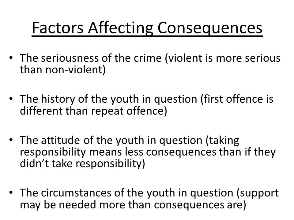 factors affecting juvenile delinquency Factors related to recidivism for youthful  there exist many risk factors for juvenile justice system involvement and youth  predicting juvenile delinquency.