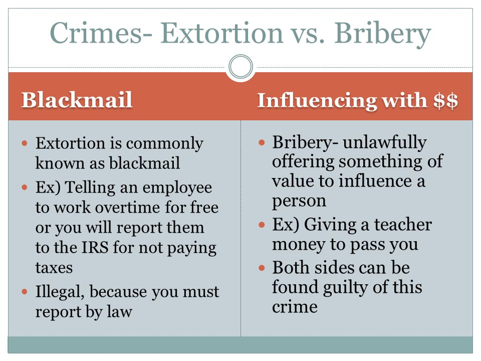 Crimes- Extortion vs. Bribery