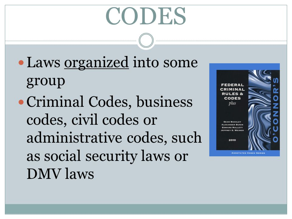 CODES Laws organized into some group