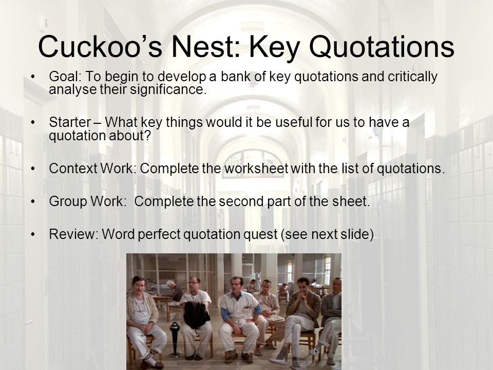 one flew over the cuckoos nest significance of fishing trip Free essay: throughout the film, one flew over the cuckoo's nest the significance of these differences the fishing trip in the movie was so different.