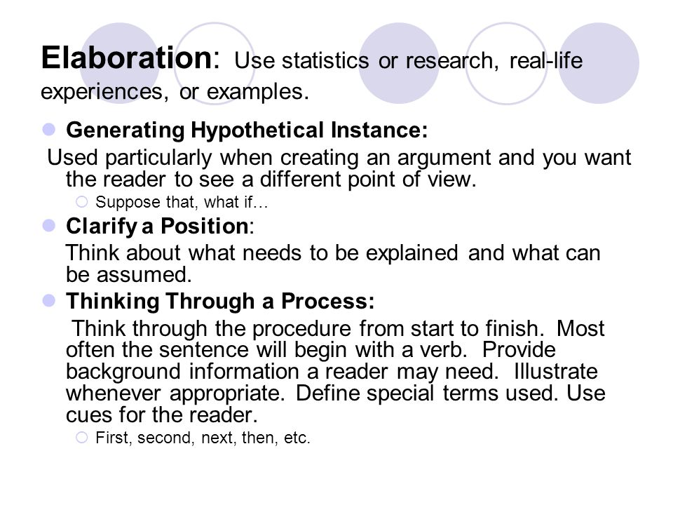 Elaboration: Use statistics or research, real-life experiences, or examples.