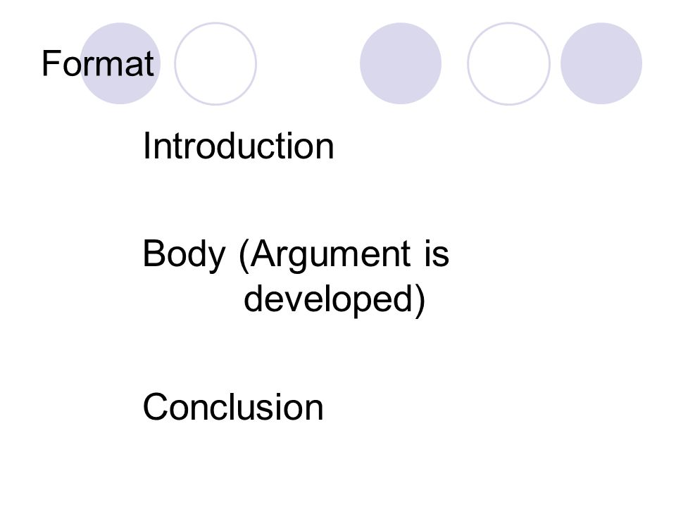 Body (Argument is developed)