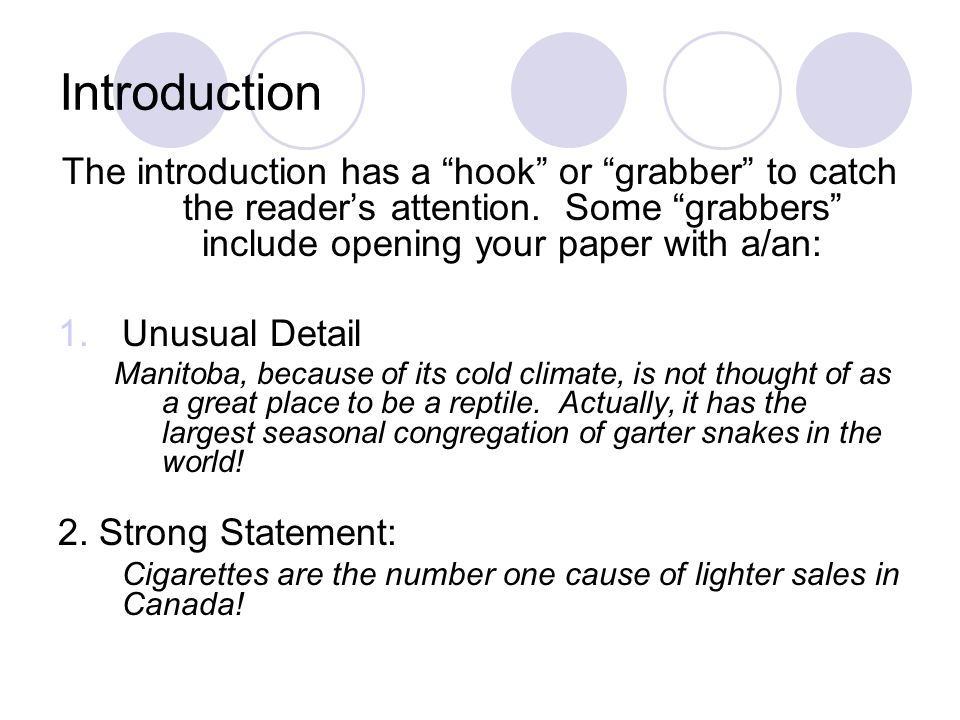 Introduction The introduction has a hook or grabber to catch the reader's attention. Some grabbers include opening your paper with a/an: