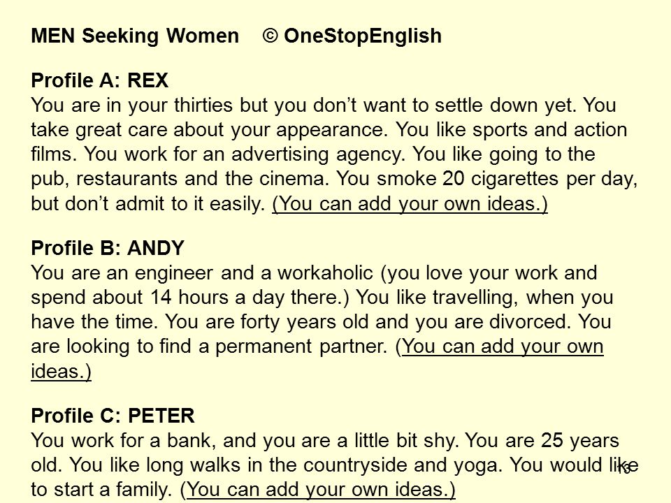 MEN Seeking Women © OneStopEnglish