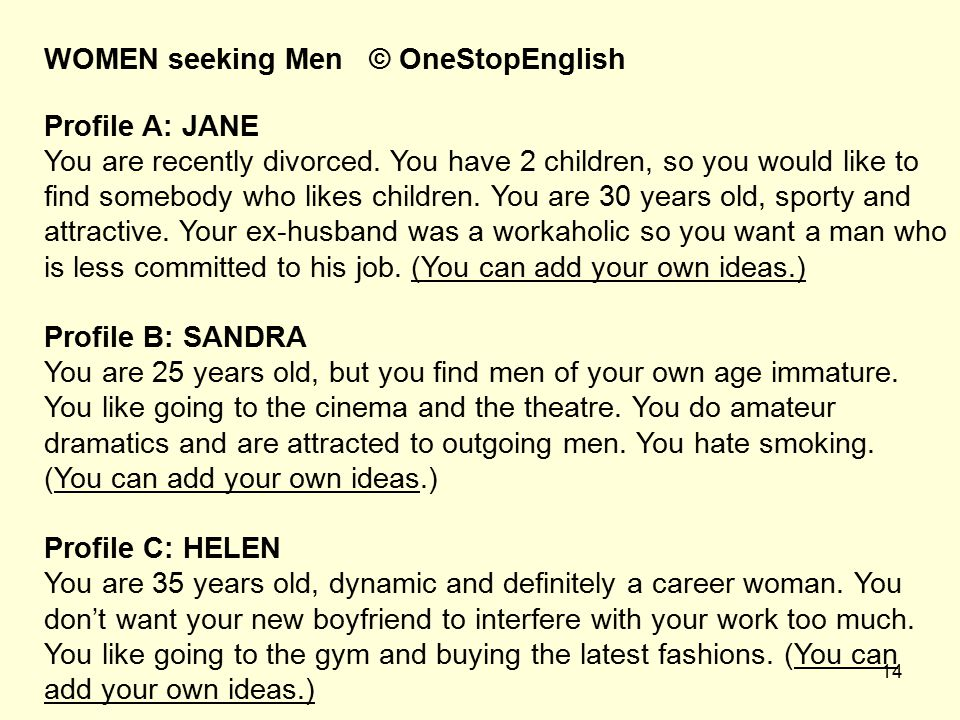 WOMEN seeking Men © OneStopEnglish