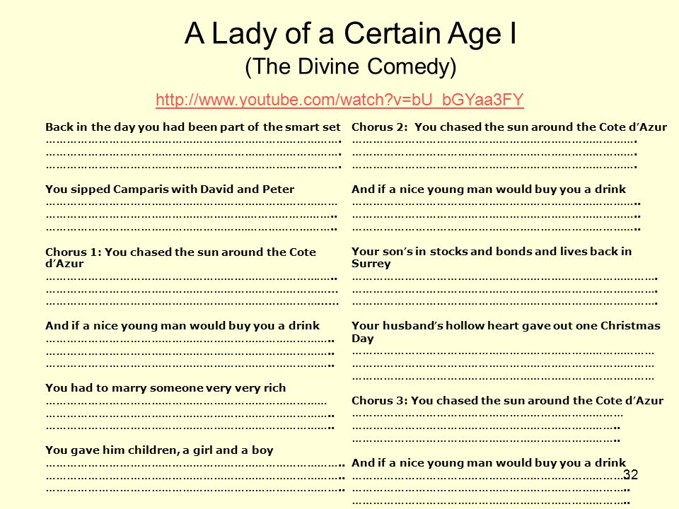A Lady of a Certain Age I (The Divine Comedy)