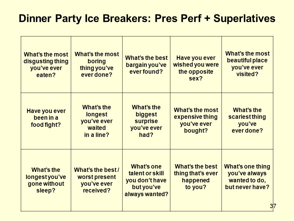 Dinner Party Ice Breakers: Pres Perf + Superlatives