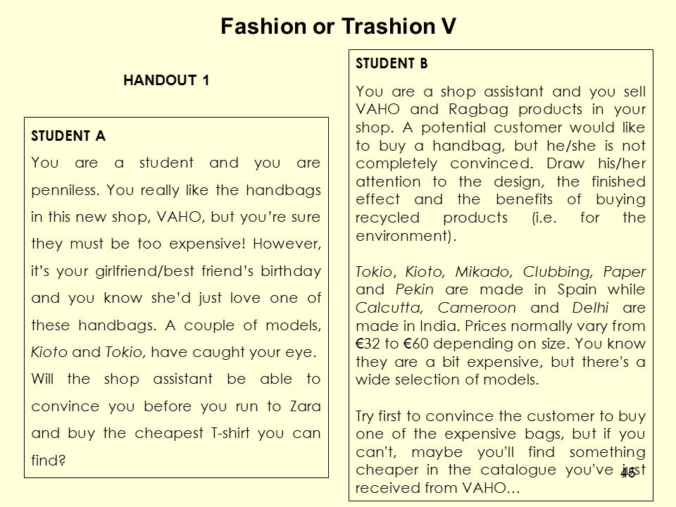 Fashion or Trashion V STUDENT B
