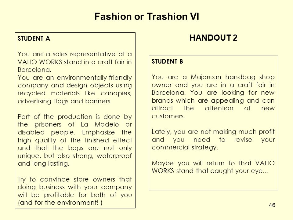 Fashion or Trashion VI HANDOUT 2 STUDENT A