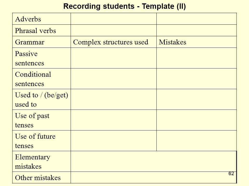Recording students - Template (II)