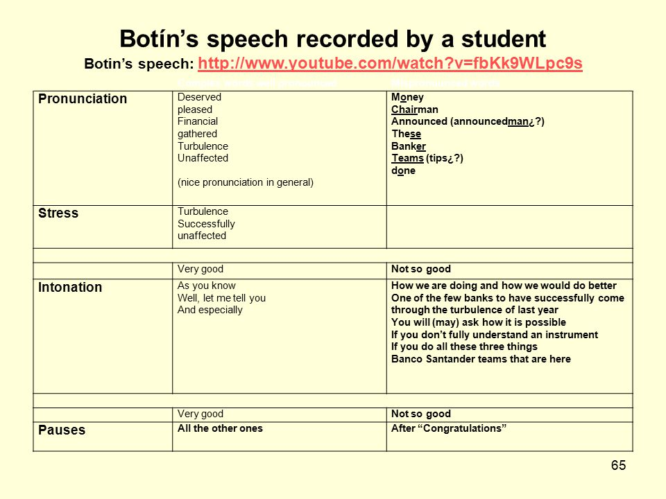 Botín's speech recorded by a student