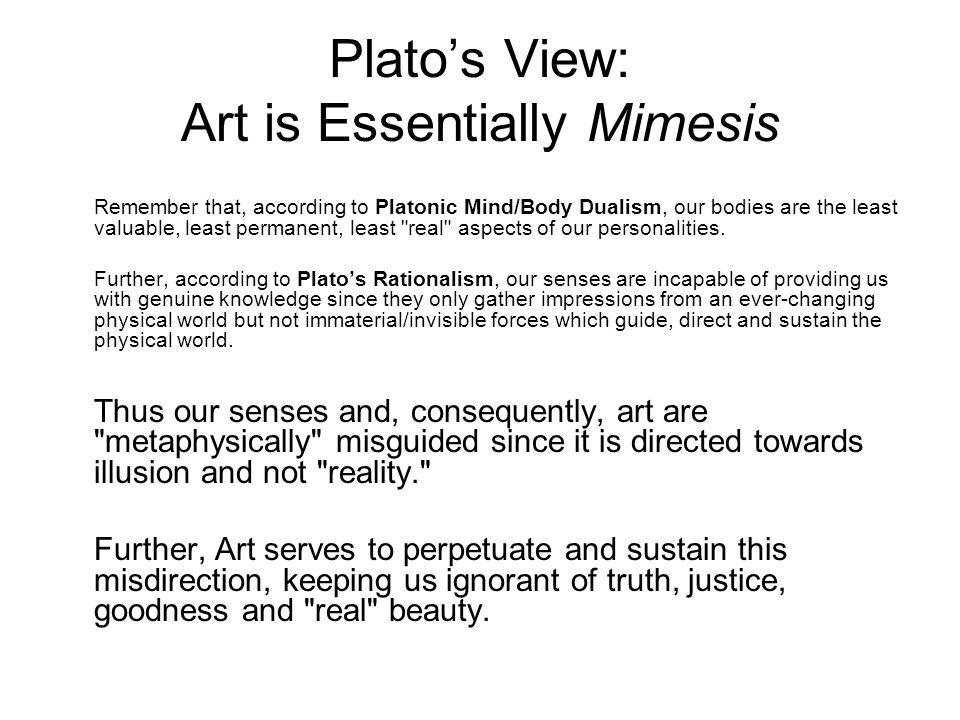 Platos and aristotles view on art and what it represents