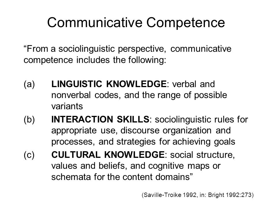 application of a communicative competence skill Communicative competence  communicative language teaching involves developing language proficiency through interactions embedded in meaningful contexts.
