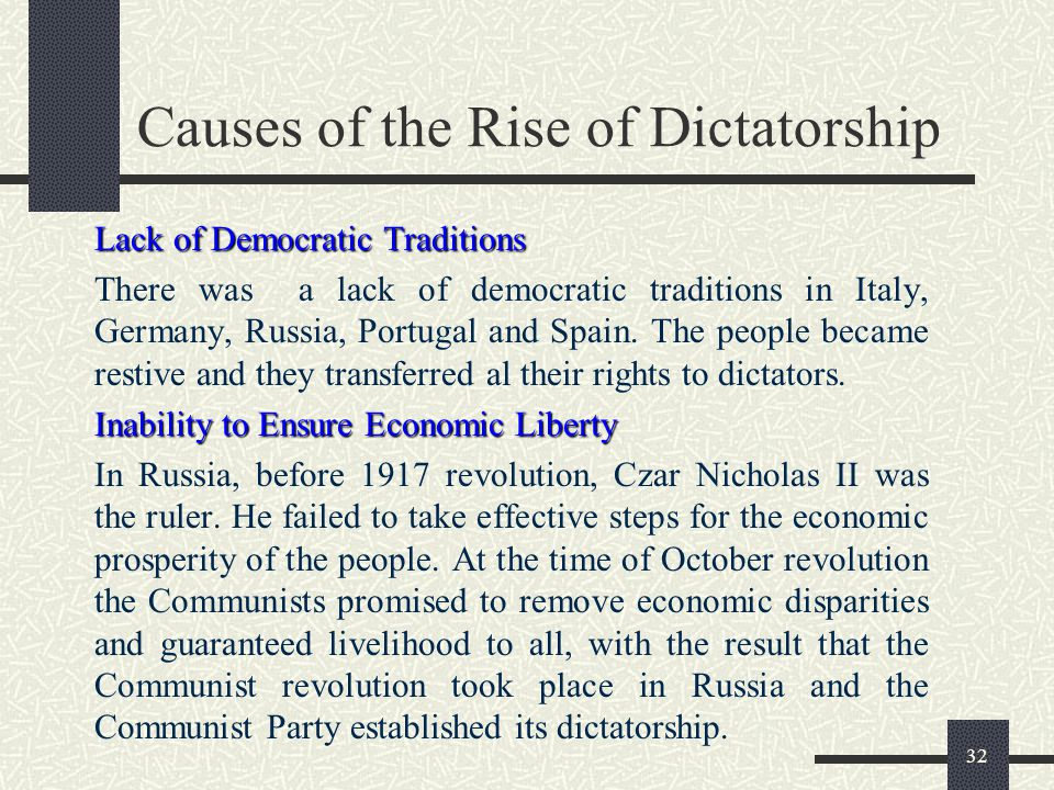 causes of dictatorship in russia Whatever their differences, iran, north korea, russia and china are all so-called revisionist powers what they want to revise, or erase, is pax americana in syria, they had an ally, a cause and a plausible outcome america, by contrast, only had the bonfire of its ambivalence the result, beyond the.