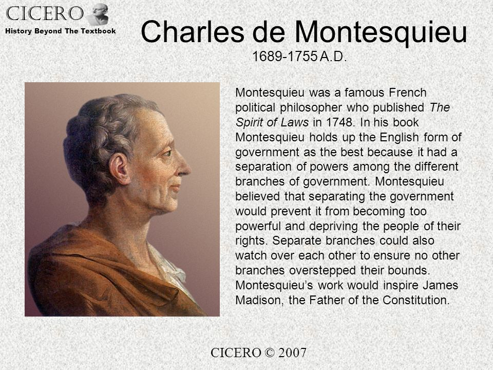 separation in the works of charles The separation of powers works together with another principle known as responsible government, to guide the way law is made and managed responsible it was made popular much later by french philosopher charles de montesquieu in 1748 in his work l'esprit des lois (the spirit of the laws) he wrote that a.