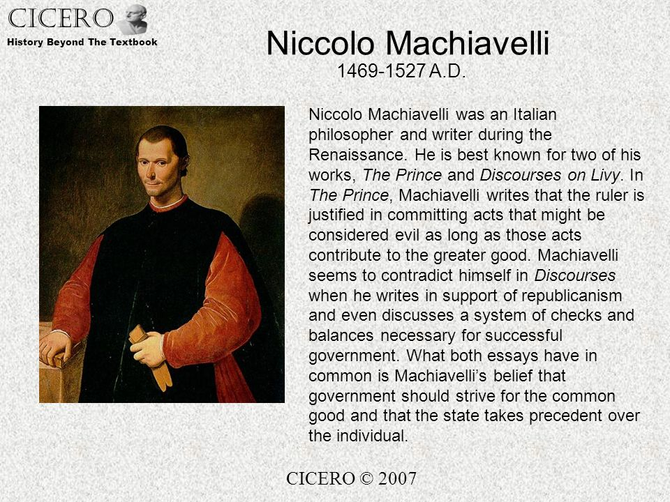 niccolo machiavelli thesis The prince study guide contains a biography of niccolo machiavelli, literature  essays, a complete e-text, quiz questions, major themes,.