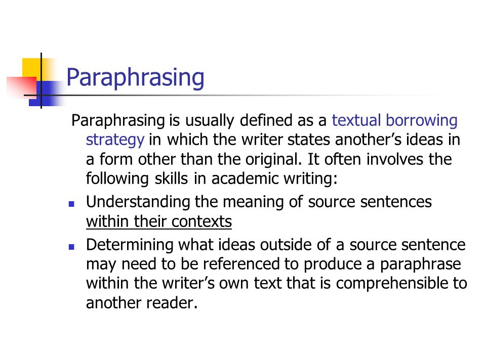 Paraphrasing a sentence poem ppt